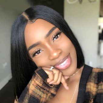 AfricanMall Middle Part Bob 360 Lace Front Human Hair Wig