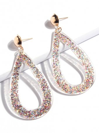 Multicolor Sequins Hollow Out Water Drop Earrings