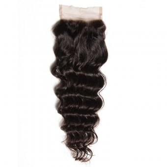 AfricanMall 4*4 inch Natural Wave Lace Closure Unprocessed Virgin Human Hair