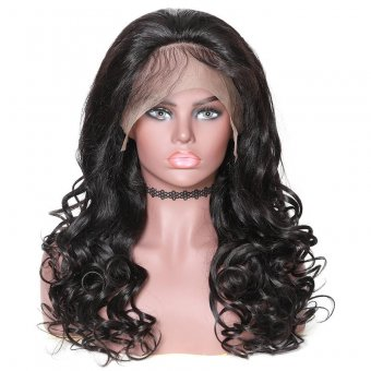AfricanMall Natural Wave With Bangs 360 Lace Front Human Hair Wig