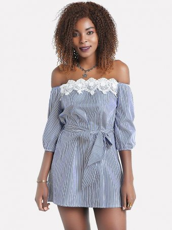 Off The Shoulder Self Tie Lace Striped Dress Off The Shoulder Dress