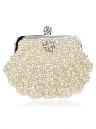 Pearl Beaded Decor Clutch Bag with Chain-Beige Yelllow