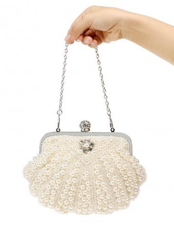 Pearl Beaded Decor Clutch Bag with Chain-Beige White