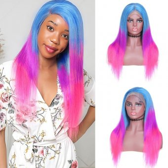 Rainbow Colored 130% Density 134 Lace Front Straight Human Hair Wig