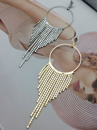 Rhinestone Decorated Tassel Embellished Ring Design Earing