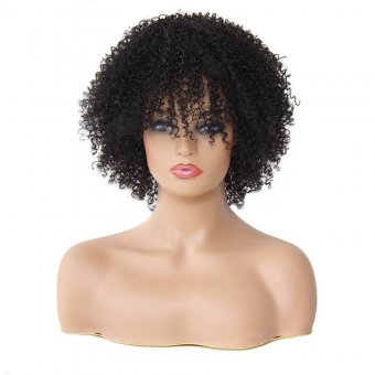 AfricanMall Short Kinky Curly Synthetic Hair Wig