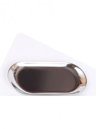 Silver Metal Small Oval Decorative Tray
