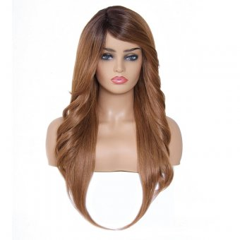 AfricanMall Side Part Body Wave & Straight Hair Style Mixed Synthetic Wig color-DR27