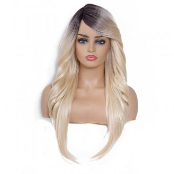AfricanMall Side Part Body Wave & Straight Hair Style Mixed Synthetic Wig color-DR613