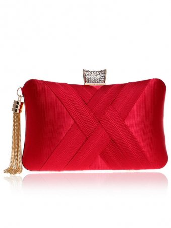 Tassel Decor Stain Banquet Clutch Bags-Red