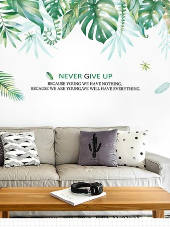 Tropical Jungle Green Leaves Wall Decor Stickers