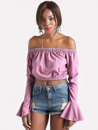 Off Shoulder Trumpet Sleeve Crop Top