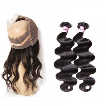 AfricanMall 360 Lace Frontal Closure With 2 Bundles Body Wave Human Hair