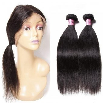 AfricanMall Human Hair 2 Bundles Straight Human Hair with 360 Frontal Closure