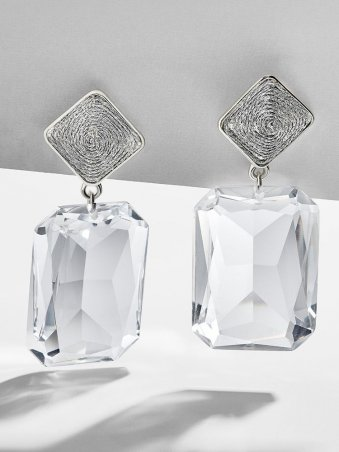 Vintage Rectangle Crystal Stud Drop Earrings