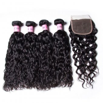 AfricanMall 4 Bundles Water Wave Human Virgin Hair With 4*4 inch Lace Closure