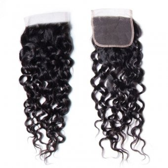 """AfricanMall Water Wave 4*4"""" Lace Closure 100% Virgin Human Hair Closure"""