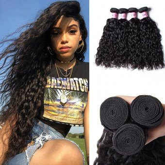 AfricanMall Water Wave Hair 4 Bundles Water Wave Unprocessed Virgin Hair