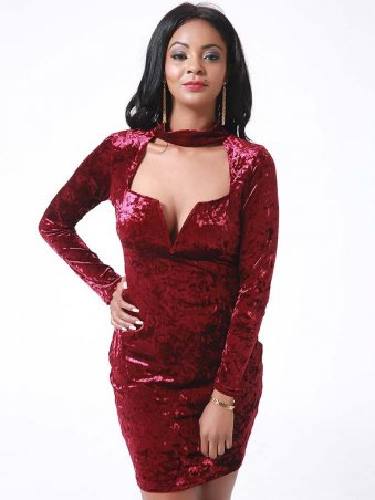 Choker V-Neck Velvet Dress WINE