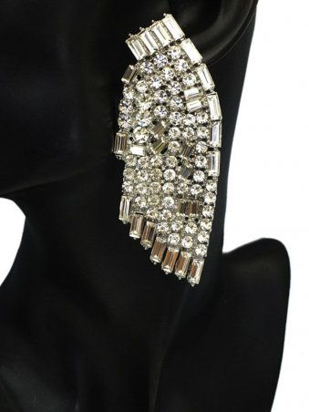 Wing Shaped Rhinestone & Crystal Overlay Stud