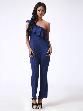 Flounce Layered One Shoulder Jumpsuit