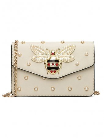 Pearl & Metal Bee Detail Leather Shoulder Crossbody Bag