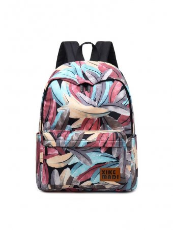 Feather Print Backpack Schoolbag College Bags
