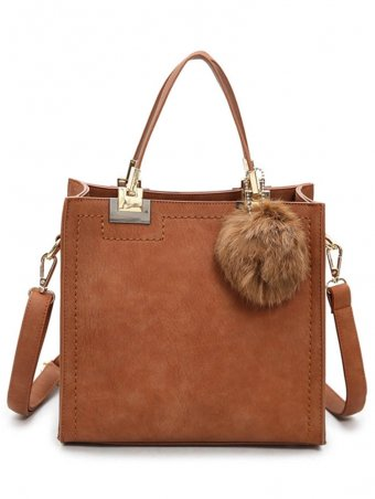 Furry Bulb Decorated Dull Polish Crossbody Bag
