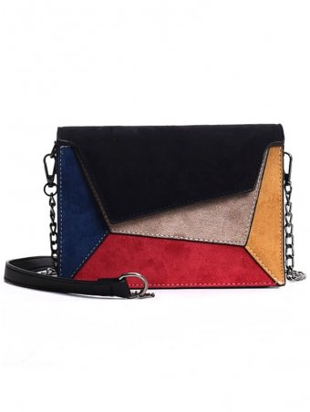 Contrast Color Square Shaped Shoulder Bag