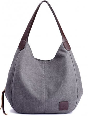Multi-layer Canvas Shoulder Tote Bag Simple