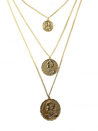 Human Head Designed Layered Gold Coin Necklace