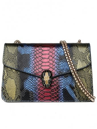 Snake Skin And Snakehead Design Crossbody Bag
