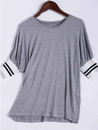JurllyShe Solid Round Neck Short Sleeves Casual T-Shirt