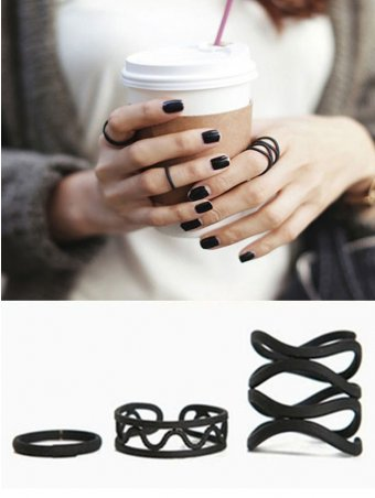 3Pcs Fashion Matte Frosted Open Ring Knuckle Ring Set
