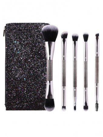 5Pcs Double-Headed Brush Set With Sequined Cosmetic bag
