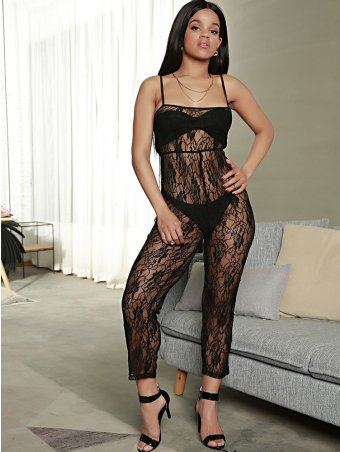 JurllyShe Hollow Out See-through Lace Spaghetti Strap Jumpsuit