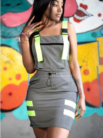 JurllyShe Backless Contrast Neon Suspender Dress
