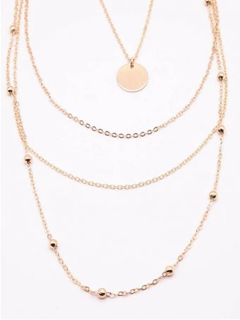Layered Chain With Circle Gold Pendant Necklace