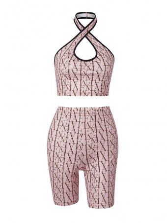 AFM Printed Crisscross Halter Tank Top With Elastric Waist Short Pants Set