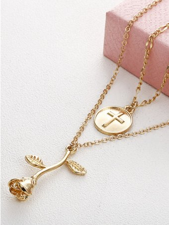 Cross & Rose Design Pendant Layered Chain Necklace