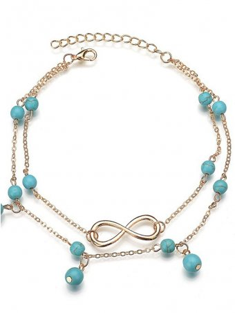 Double-layer Infinity Decor Turquoise Cute Anklets