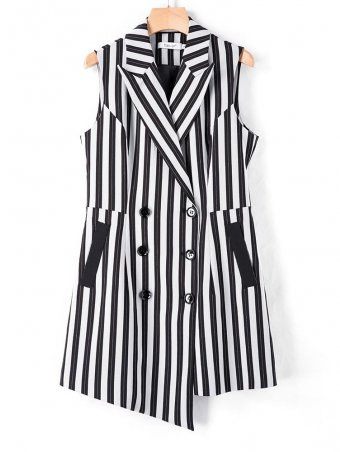 Double Breasted Striped Vest Blazer