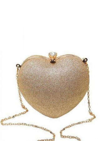 Fashion Heart Clutch Bag Pearl Evening Shoulder Bag With Chain