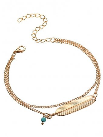 Feather Design Double Layer Chain Cute Anklets