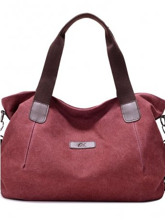 Soild Color Canvas Crossbody Bag-Wine Red