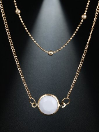 Gem Decorated Layered Chain Link Necklace