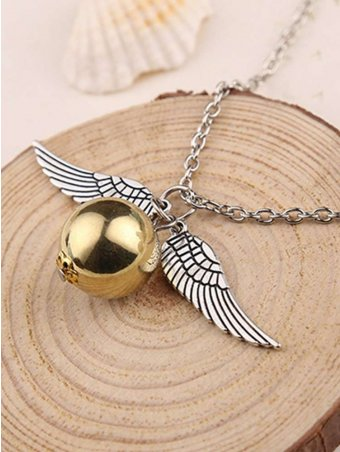 Golden Pleated Snitch Harry Potter Necklace