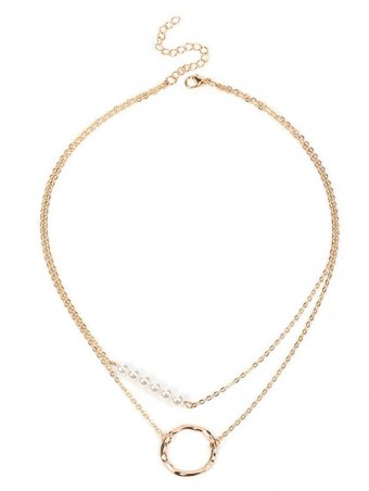 Irregular Circle & Pearl Detail Double Layer Charm Necklace
