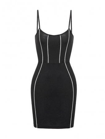 Jurllyshe Black Spaghetti Strap Dress