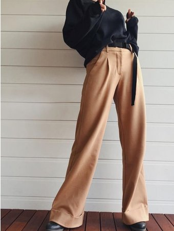 JurllyShe Buckle Belted High Waist Wide Leg Pants